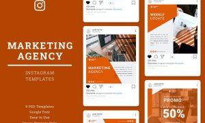 Marketing Agency Instagram Post Template W862BQL