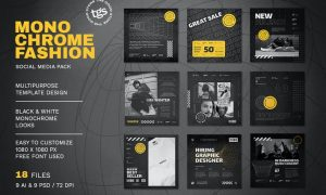 Monochrome Fashion Social Media Pack UMWC5KC