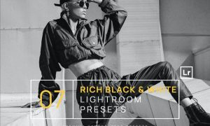 7 Rich Black & White BW Lightroom Presets + Mobile