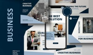Business Blue - Post & Story Instagram Vol.2 MZ7QGV9