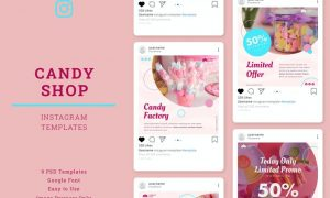 Candy Shop Instagram Post Template K764QAL