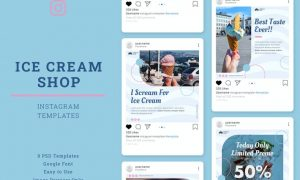Ice Cream Shop Instagram Post Template WCWFRAG