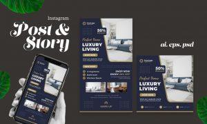 Luxury Living Interior Instagram Story Post A8AL5RP