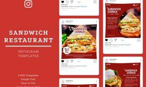 Sandwich Restaurant Instagram Post Template ETSMCMY
