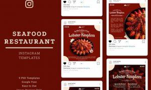 Seafood Restaurant Instagram Post Template 4HXLAHE