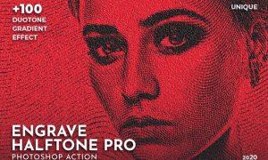 Engrave Halftone Pro Photoshop Action 7MK9AVG