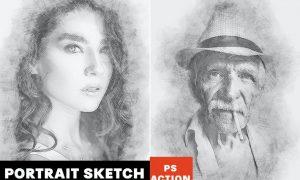 Portrait Sketch Photoshop Action 43LUDBM