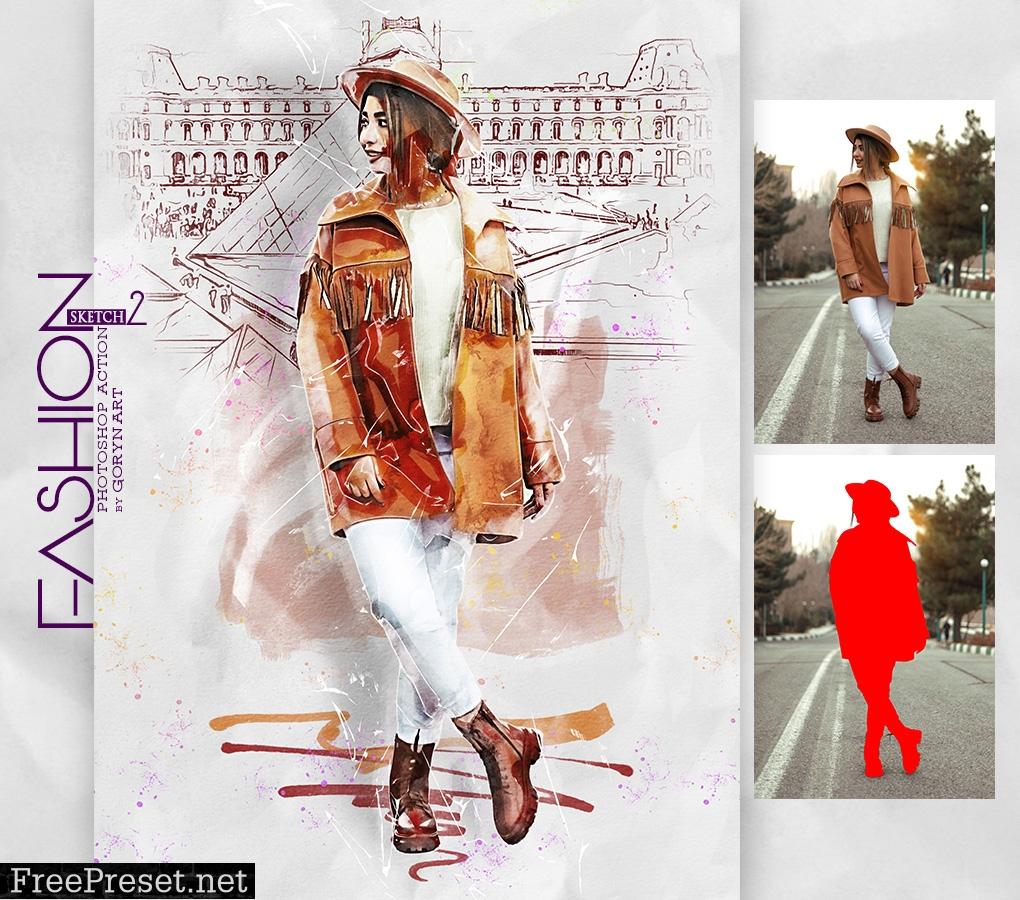 Fashion Sketch 2 Photoshop Action 30333957