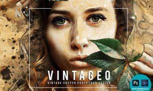 Vintageo - Vintage Sketch Photoshop Action QT3GXPW