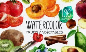 136 Watercolor Fruits And Vegetables JAZQSS