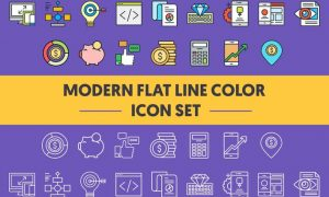 1960 Modern Flat Line Color Icons PSYZD3