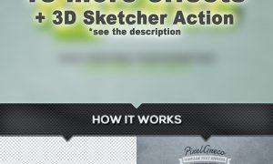 20 Retro Vintage Text Effects Bundle + Photoshop Action 23869986