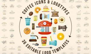 58 Coffee Icons & 36 Editable Logos UCWX3WN