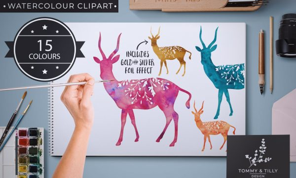 Antelope - 15 Watercolour & Foil PNG 2544569