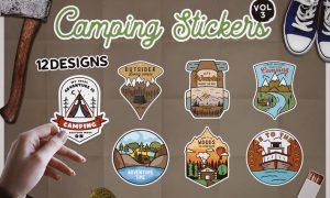 Camping Stickers Bundle Vector Travel Emblems Vol3 ACC56Q5
