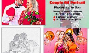 Couple Oil Portrait Photoshop Action 5871930