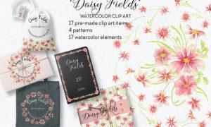 Daisy Fields Watercolor Clip Art Bundle RMJ9F35
