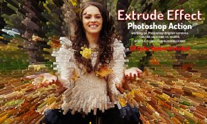 Extrude Effect Photoshop Action 5895859