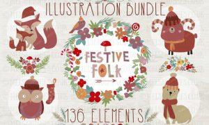 Festive Folk Illustration Bundle EQY7W5