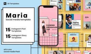 Maria - 30 Instagram Post & Story Template B6CU46L