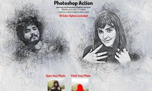 Portrait Scribble Sketch PS Action 5893102