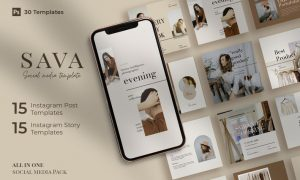 Sava - 30 Instagram Post & Story Template 2AVFXXA
