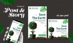 Save Earth Instagram Post Story YG9KDUS