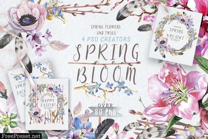 Spring bloom set 80 PNG  9HC26U