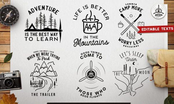 Travel Line Art Badges. Camping SVG Designs JEKDXHV