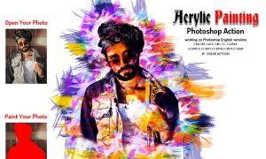 Acrylic Painting Photoshop Action 6011812