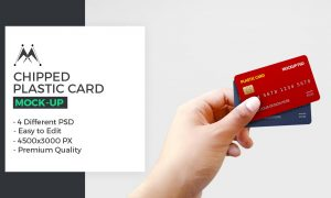 Chipped Plastic Card in Hand Mockup 5946311
