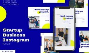 Startup Business Instagram Stories & Post Pack WRKY6EN
