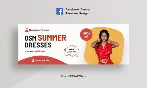 Summer Sale & Dress promotional Facebook Banner EUS95TE