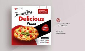 Pizza & Restaurant Promotional Food Instagram Feed FVDJUDC