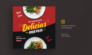 Restaurant & Food Promotional Instagram Feed Post S5D8VD2