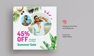 Summer Sale & Promotional Instagram Feed Post & AD W8D74MA