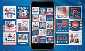 4th of July Sale Instagram Pack 6FXUSVJ
