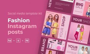Fashion instagram posts template kit - 07 RUNN73J