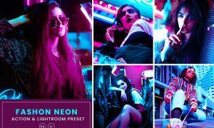 Fashion Neon Action & Lightrom Presets
