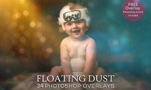 Floating Dust Photoshop Overlays & Action