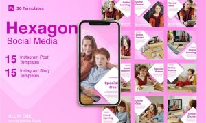 Hexagon - 30 Instagram Post & Story Template 4D5TR95