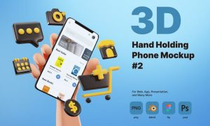 3D Hand Holding Phone Mockup for E-commerce NA8A4A8