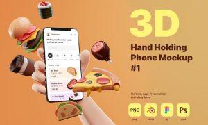 3D Hand Holding Phone Mockup for Food Industry Q6KJPKM