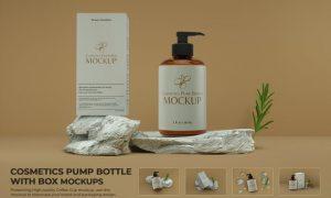 Cosmetics Pump Bottle with Box Mockup Scene 6MHCCAB