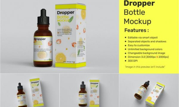 Drop Bottle Mockup with Box Package FHQM7U2