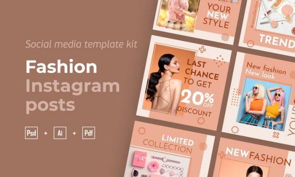 Fashion Instagram posts template kit - 19 G9Q58SY