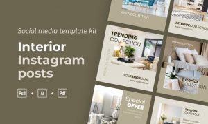 Interior Instagram posts template kit - 03 8WE6YED