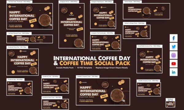 International Coffee Day , Coffee Time Social Pack AT4NC5C