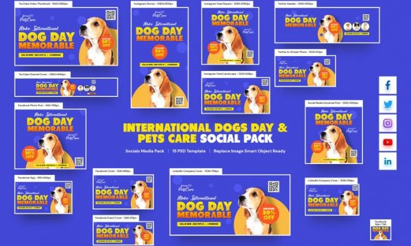International Dogs Day , Pets Care Social Pack 5453PZD