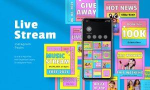 Retro Live Stream Instagram Packs